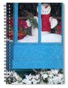 Snowman And Poinsettias - Frosty Christmas Spiral Notebook