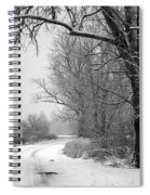 Snowy Branch Over Country Road - Black And White Spiral Notebook