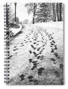 Snowy Footsteps Spiral Notebook