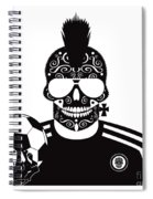 Soccer Skull Icon Background With Sunglasses And Ball. Spiral Notebook