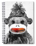 Sock Monkey Art In Black White And Red - By Sharon Cummings Spiral Notebook