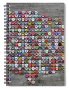 Soda Pop Bottle Cap Map Of The United States Of America Spiral Notebook
