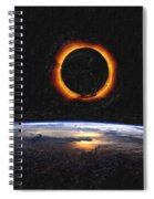 Solar Eclipse From Above The Earth Painting Spiral Notebook