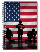Soldiers On American Flag Spiral Notebook