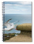 Solitary Seagull Take-off Spiral Notebook