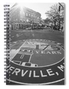 Somerville Ma Davis Square 175 Years Black And White Spiral Notebook