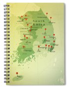 South Korea Map Square Cities Straight Pin Vintage Spiral Notebook