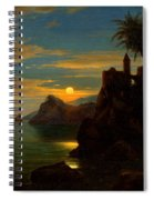 Southern Coastal View By Moonlight Spiral Notebook