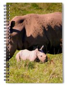 Southern White Rhino With A Little One Spiral Notebook