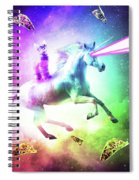 Space Cat Riding Unicorn - Laser, Tacos And Rainbow Spiral Notebook