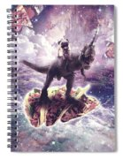 Space Pug Riding Dinosaur Unicorn - Pizza And Taco Spiral Notebook