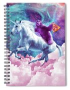 Space Sloth On Unicorn - Sloth Pizza Spiral Notebook
