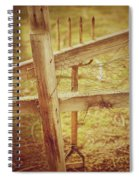 Spading Fork On Chicken Wire Fence Morning Sunlight Spiral Notebook