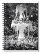 Spanish Moss Fountain With Bromeliads - Black And White Spiral Notebook