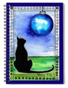 Sparkling Blue Bauble - Christmas Cat Spiral Notebook