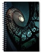 Spiral Ornamented Staircase In Blue And Green Tones Spiral Notebook