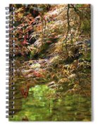 Spring Maple Leaves Over Japanese Garden Pond Spiral Notebook