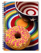 Sprinkled Donut On Circle Plate With Bowl Spiral Notebook