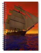 Square-rigged Ship At Sunset Spiral Notebook