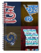 St Louis Sports Fan Recycled Vintage Missouri License Plate Art Cardinals Blues Rams Spiral Notebook