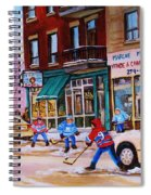 St. Viateur Bagel With Boys Playing Hockey Spiral Notebook