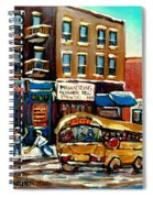 St. Viateur Bagel With Hockey Bus  Spiral Notebook