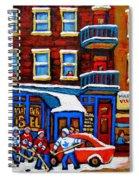 St Viateur Bagel With Hockey Montreal Winter Street Scene Spiral Notebook
