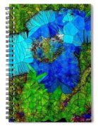 Stained Glass Blue Poppy One Spiral Notebook