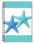 Starfish Blue And Turquoise On White Spiral Notebook