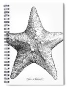 Coastal Starfish Drawing - Black And White Sea Star - Beach Decor - Nautical Art Spiral Notebook