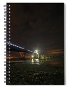 Starry Sky Over The New York To Vermont Bridge Lake Champlain Spiral Notebook