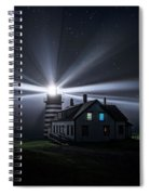 Stars And Light Beams - West Quoddy Head Lighthouse Spiral Notebook