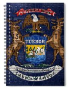 State Of Michigan Flag Recycled Vintage License Plate Art Version 1 Spiral Notebook