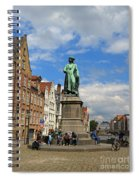 Statue Of Jan Van Eyck Beside The Spieglerei Canal In Bruges Spiral Notebook