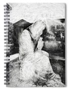 Statue Of Weeping Woman, Lafayette Cemetery, New Orleans In Black And White Sketch Spiral Notebook