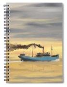 Steamship Freighter Heading Towards The Ocean Spiral Notebook