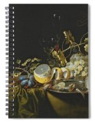 Still Life Of Hazelnuts Grapes Oysters And Other Foods On A Draped Table Spiral Notebook