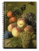 Still Life Of Peaches  Grapes And Plums On A Stone Ledge With A Bird And Butterfly Spiral Notebook