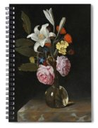 Still Life Of Roses Lilies And Other Flowers In A Glass Vase On A Marble Ledge Spiral Notebook