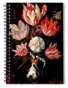 Still Life Of Variegated Tulips In A Ceramic Vase With A Wasp A Dragongly A Butterfly And A Lizard Spiral Notebook