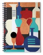 Still Life Paper Collage Of Wine Glasses Bottles And Musical Instruments Spiral Notebook