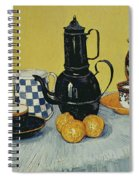 Still Life With Blue Enamel Coffeepot, Earthenware And Fruit, 1888 Spiral Notebook