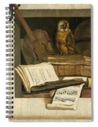 Still Life With Books Sheet Music Violin Celestial Globe And An Owl Spiral Notebook