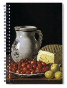 Still Life With Cherries  Cheese And Greengages Spiral Notebook