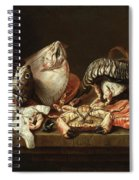 Still Life With Fishes, A Crab And Oysters Spiral Notebook
