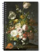 Still Life With Flowers In A Glass Vase Spiral Notebook