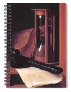 Still Life With Hourglass Pencase And Print Spiral Notebook