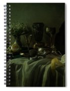Still Life With Metal Dishes, Fruits And Fresh Flowers Spiral Notebook