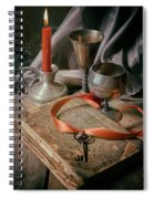 Still Life With Old Book And Metal Dishes Spiral Notebook
