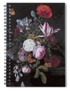 Still Life With Peonies Roses Irises Poppies And A Tulip With Butterflies A Dragonfly And Other Inse Spiral Notebook